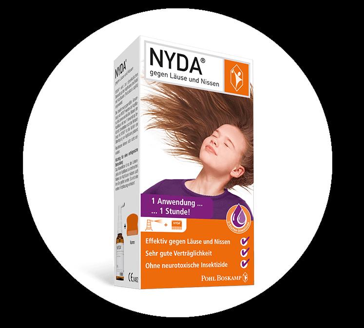 Das NYDA®-Pumpspray gegen Läuse und Nissen in der Produktverpackung